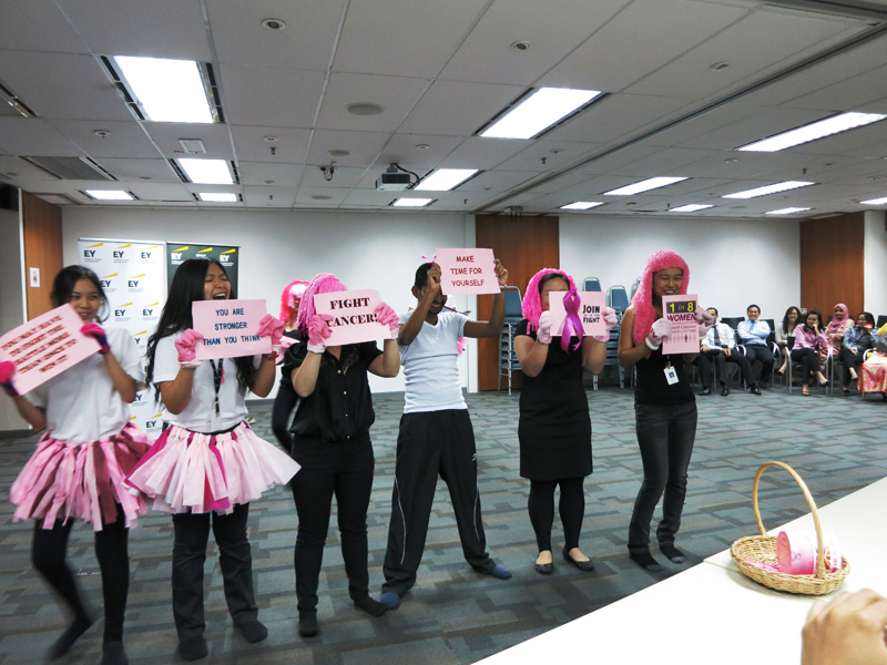EY's Tax team incorporates powerful messages during the Pink Glove Dance routine